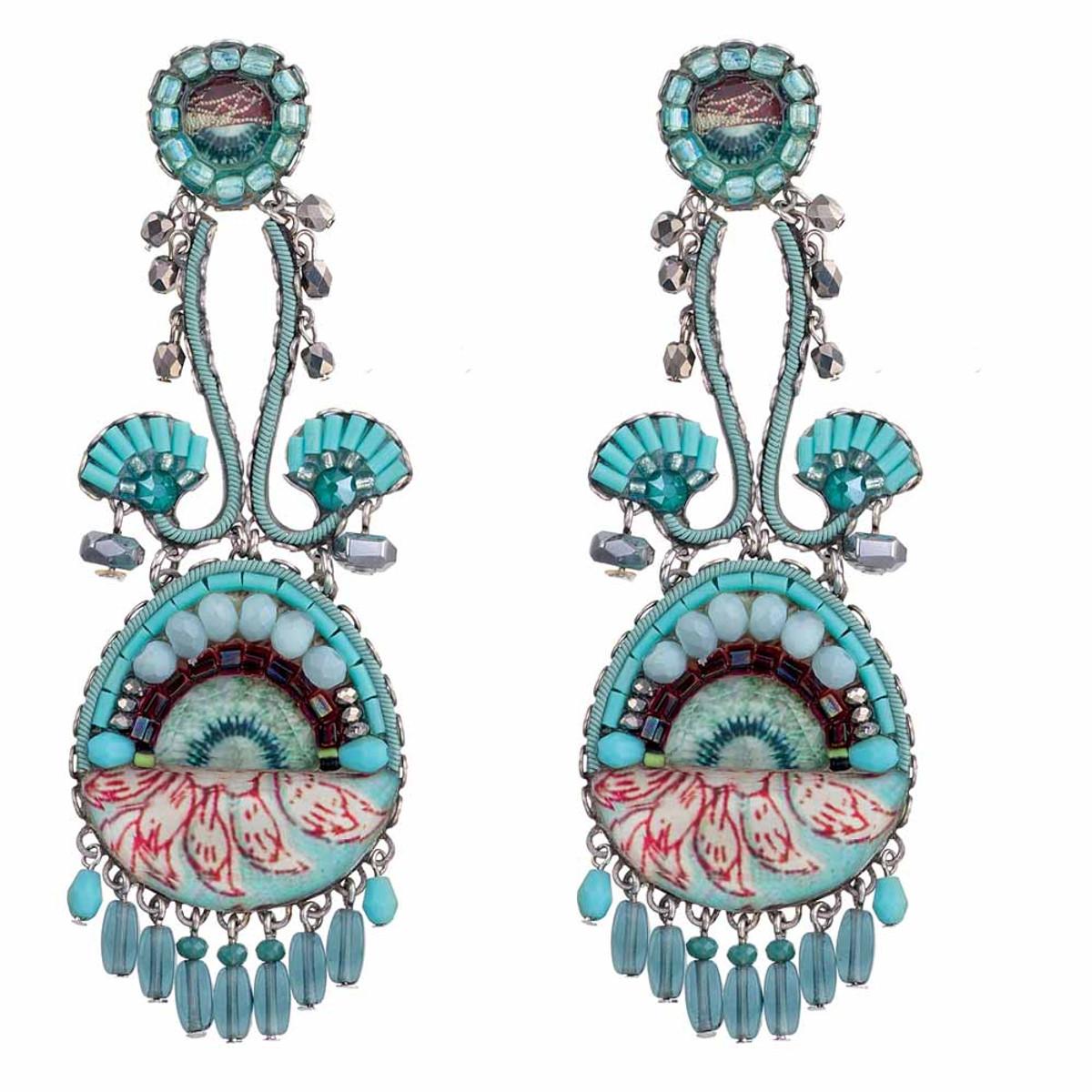 Ayala Bar Tapestry Delight Teal Fan Earrings