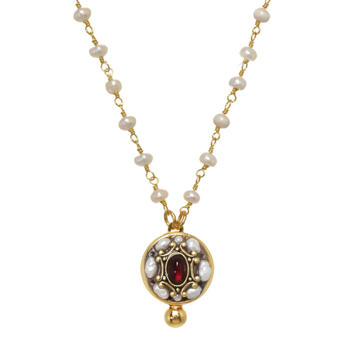 Michal Golan Victorian Pearl Circle Necklace