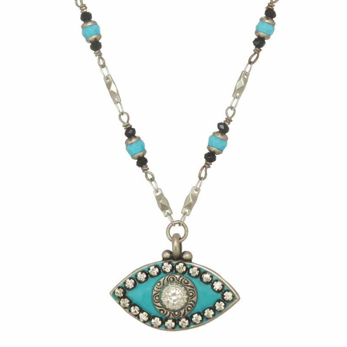Michal Golan Turquoise and Black Evil Eye Necklace