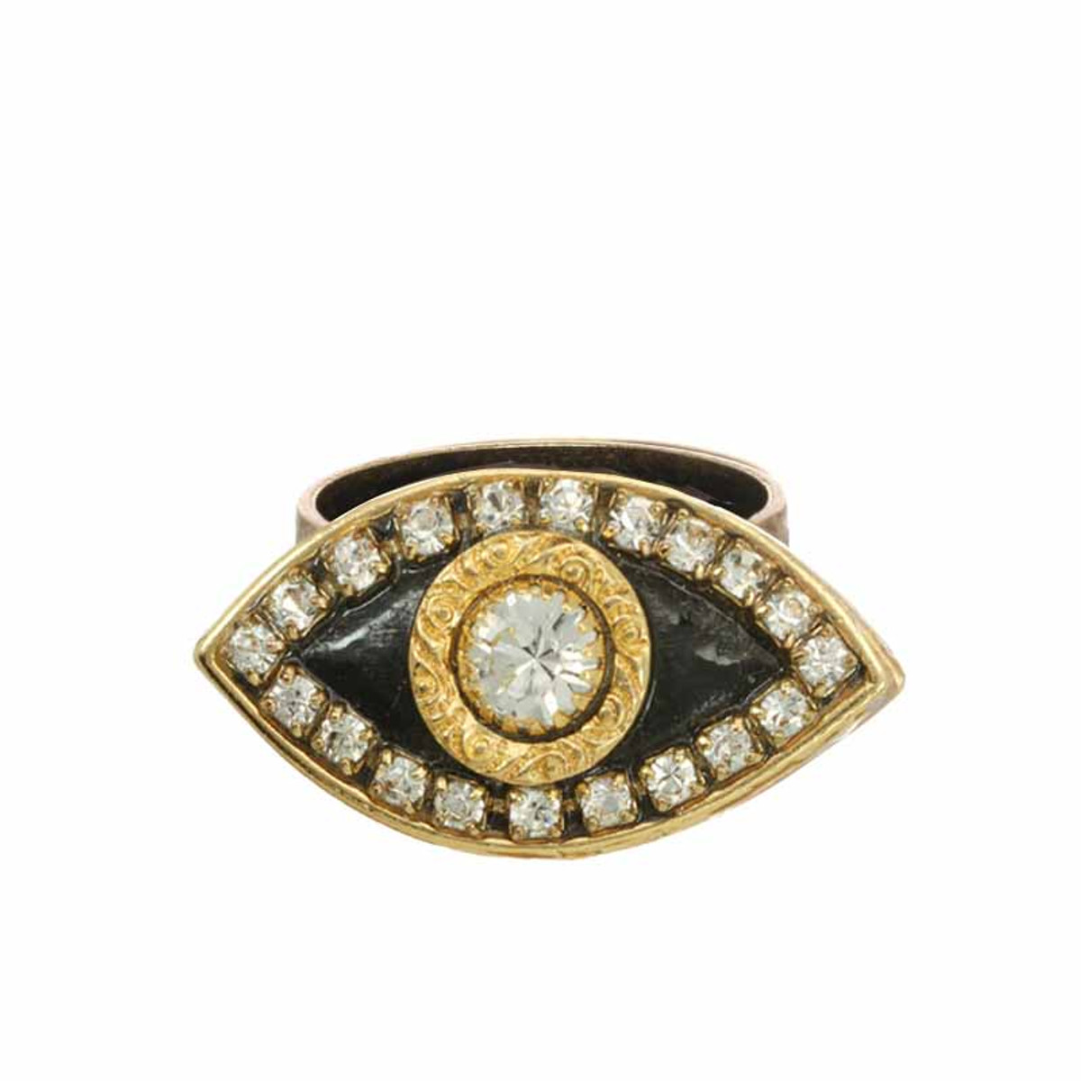 Michal Golan Evil Eye Black adjustable  Ring