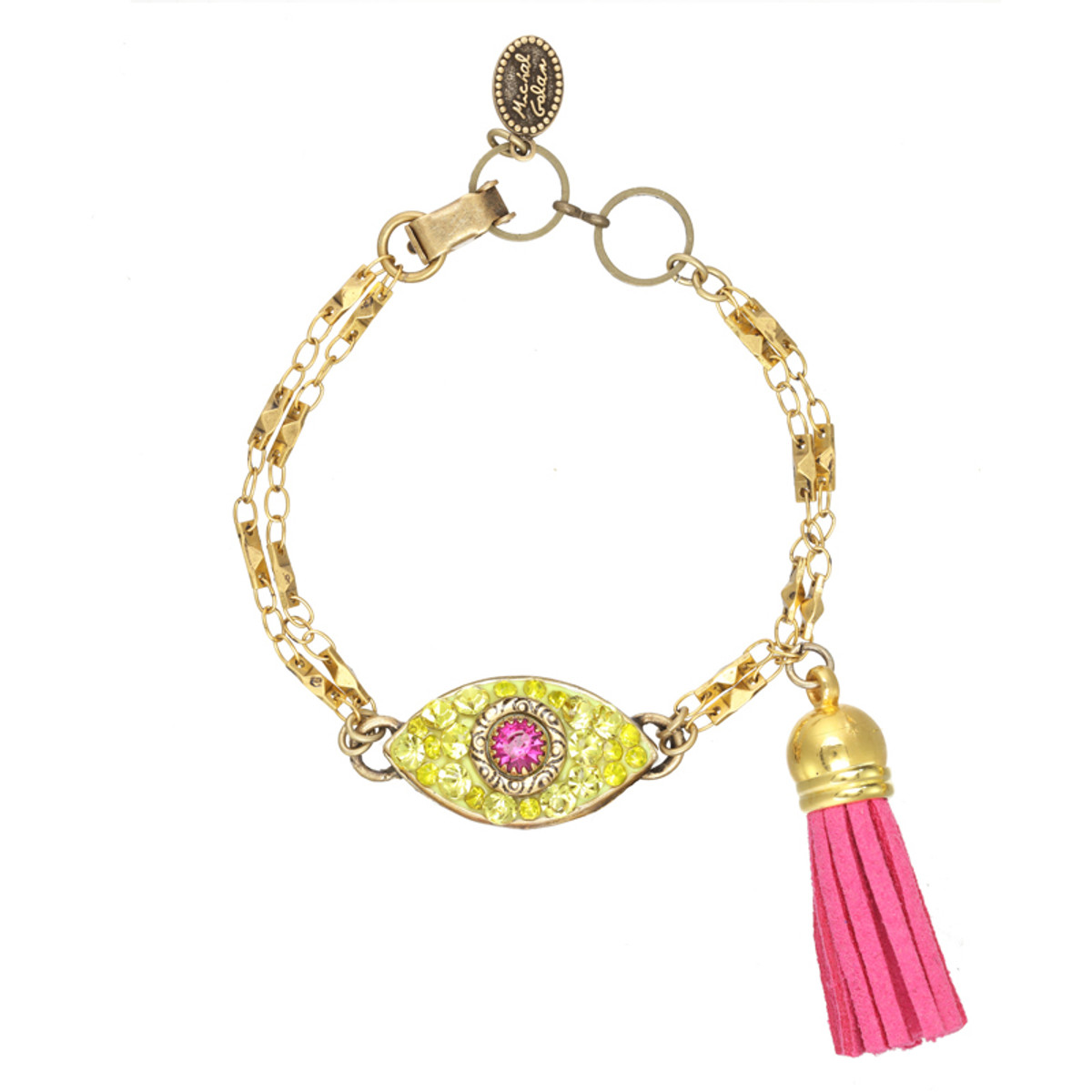 Michal Golan Dazzling Yellow and Pink Eye Charm Bracelet