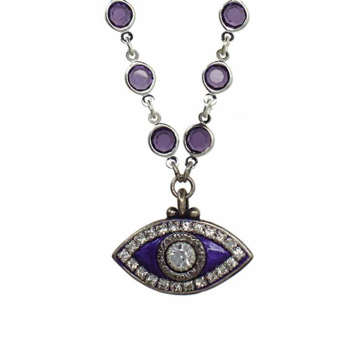 Michal Golan Deep Purple Evil Eye Necklace on Crystal Chain
