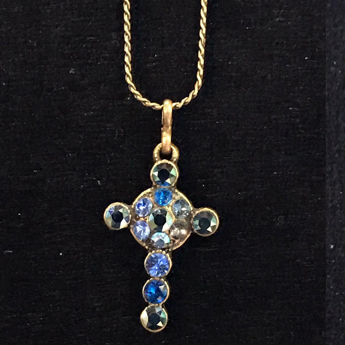 Michal Negrin Crystals Small Blue Cross Necklace