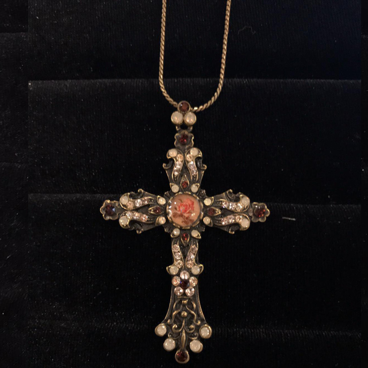 Michal Negrin Crystals Faith Delicate Cross Necklace