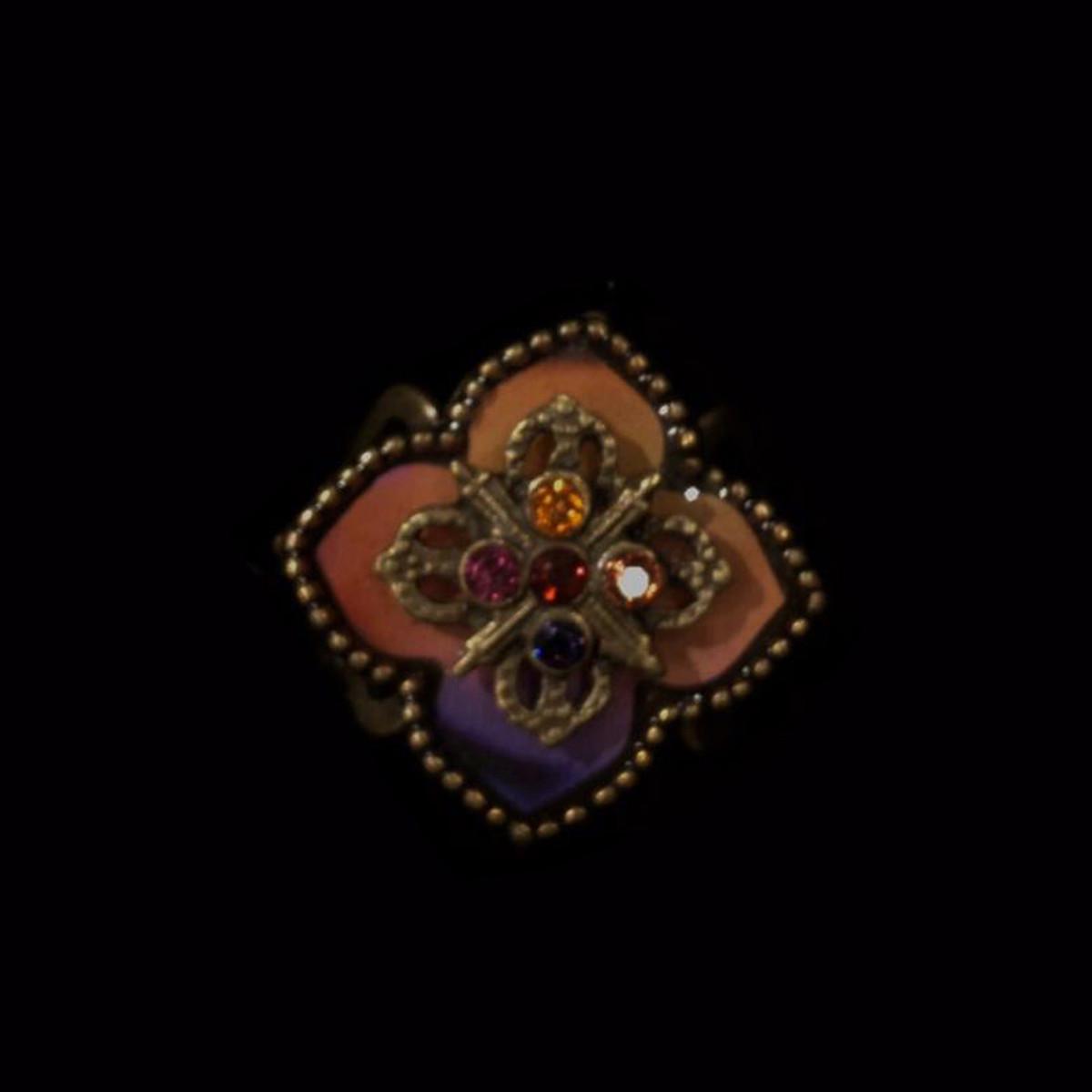 Michal Negrin Crimson Rainbow Flower Ring