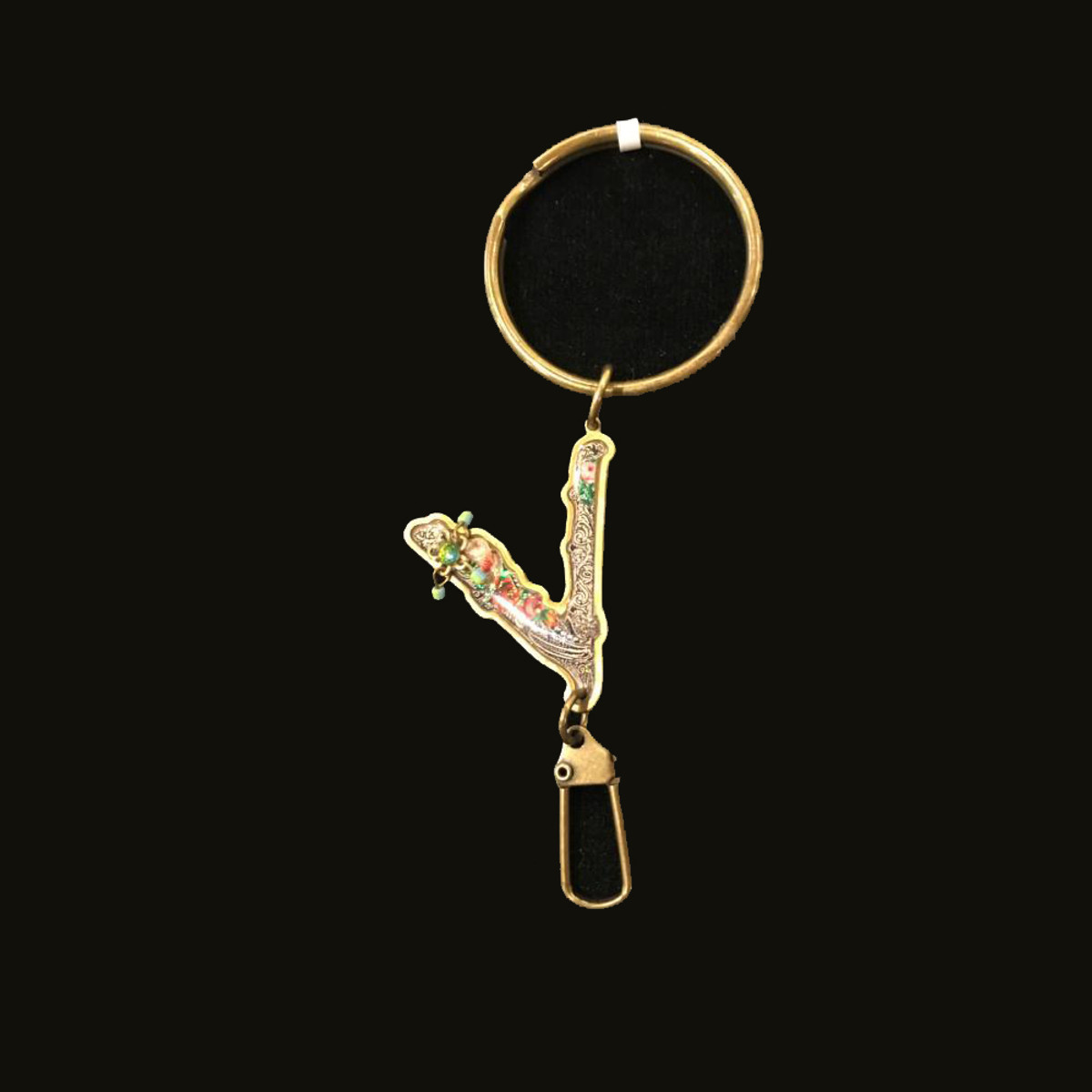 Michal Negrin Initial Letter V Key Chain
