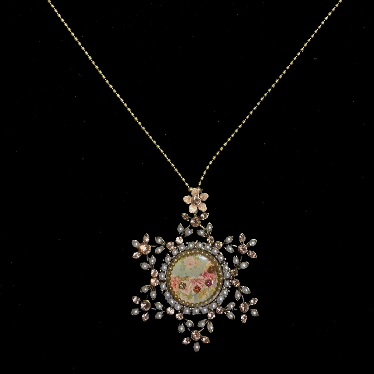 Michal Negrin Crystal Flowers Star of David Necklace