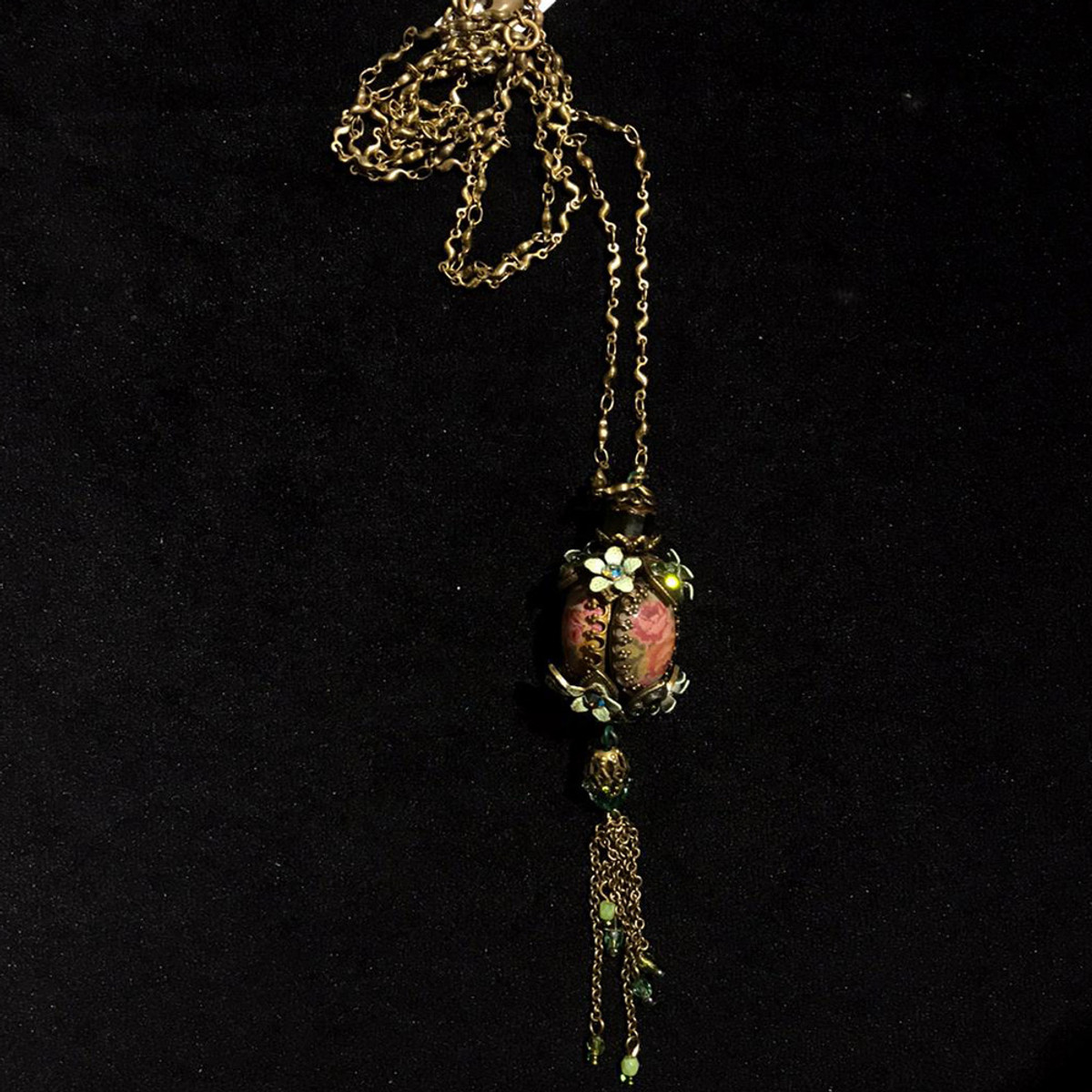 Michal Negrin Crisp Floral Wave Long Green Flower Necklace