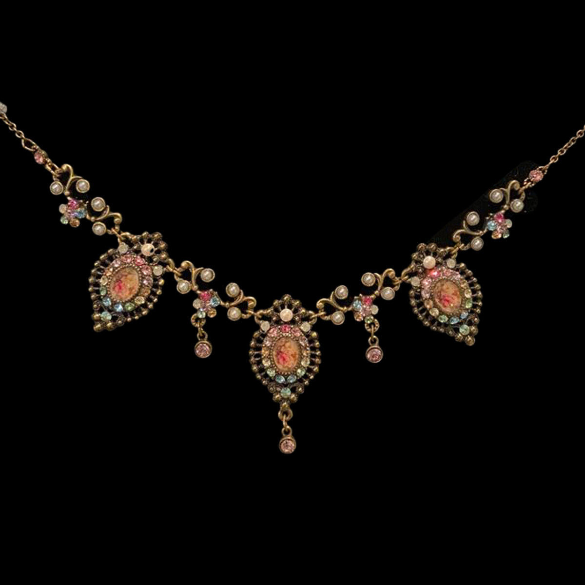 Michal Negrin Victorian Night Time Sparkling Crystal Necklace
