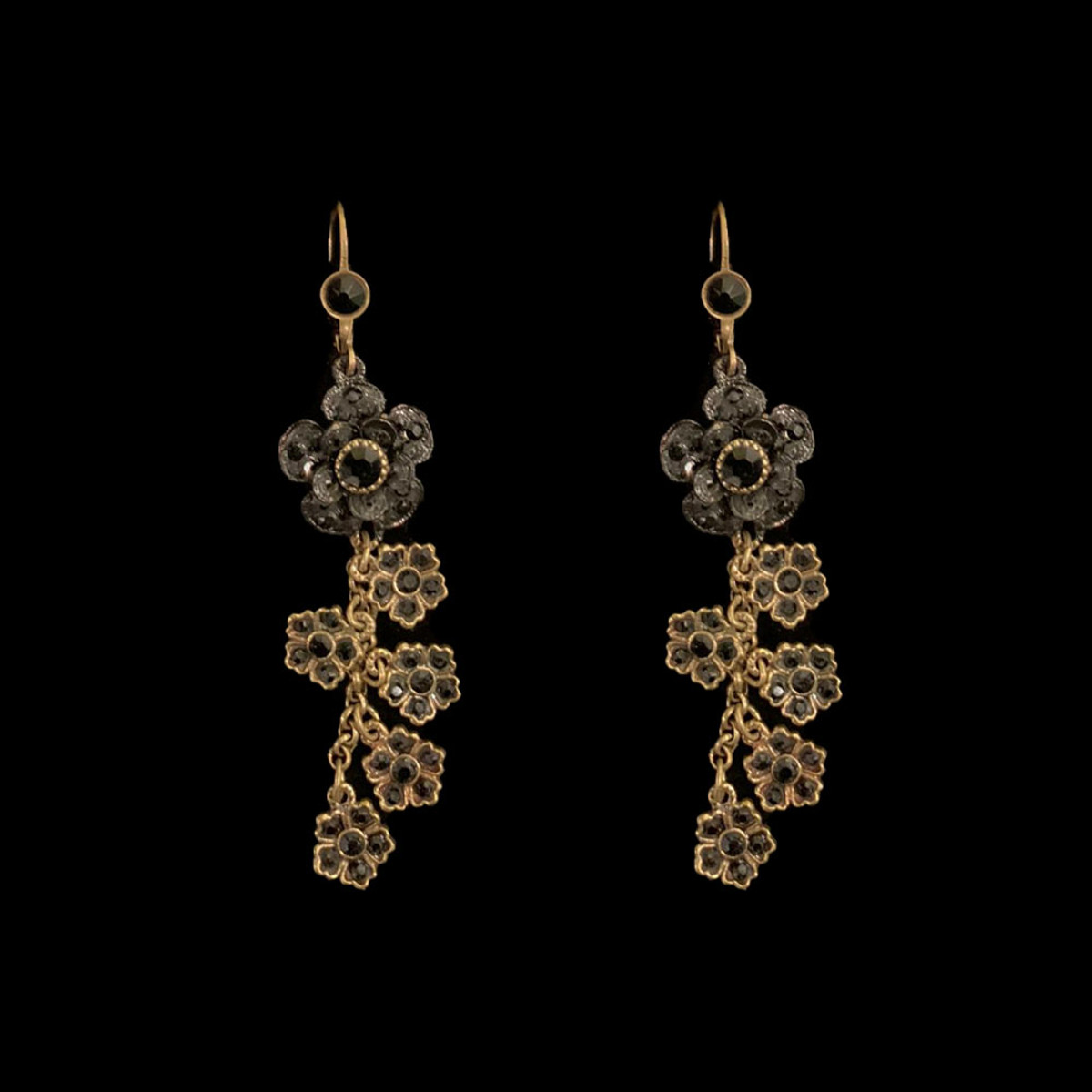 Michal Negrin Hanging Sparkling Swarovski Crystals Flower Earrings