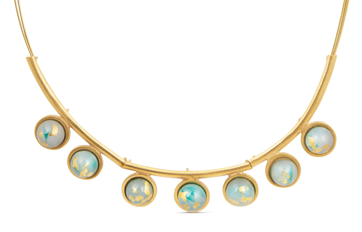 Joidart Anais Large Necklace Green Gold