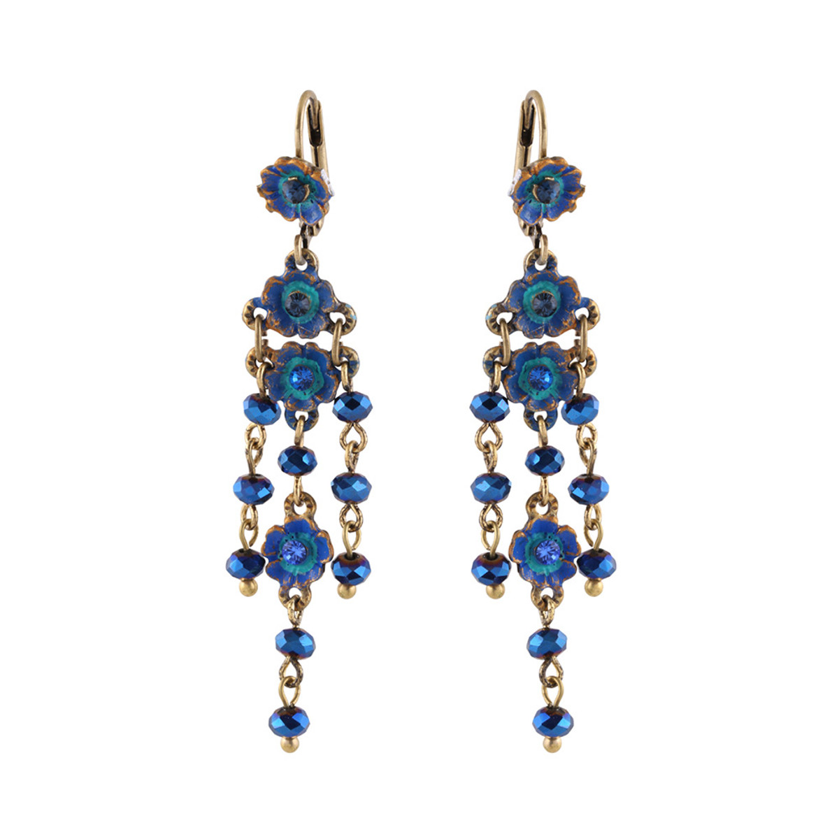 Michal Negrin Seeking Flower Blue Hook Earrings