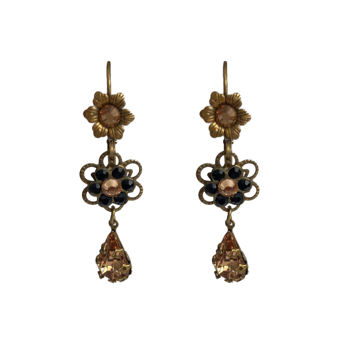 Michal Negrin Black Gold Crown French Wire Earrings