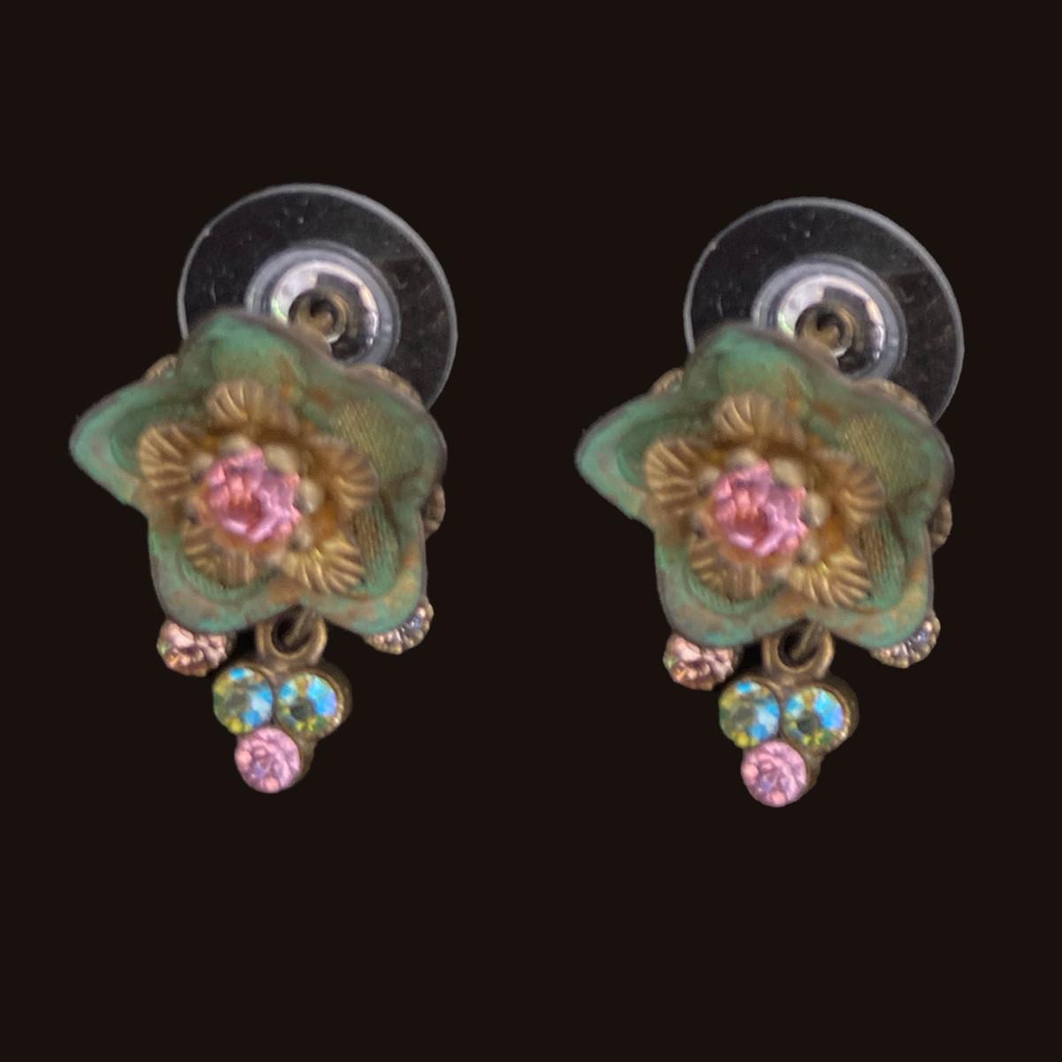 Michal Negrin Flower Sparkling Swarovski Crystals Earrings