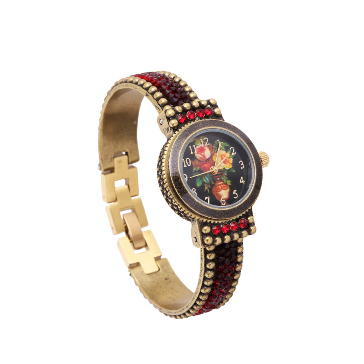 Michal Negrin Liz Jeweled Red Crystal Hand Watch