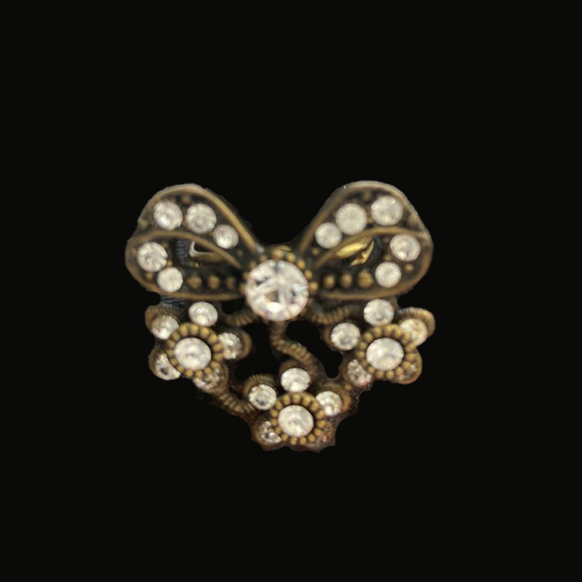 Michal Negrin Bedazzled Bow Swarovski Crystal Adjustable Ring