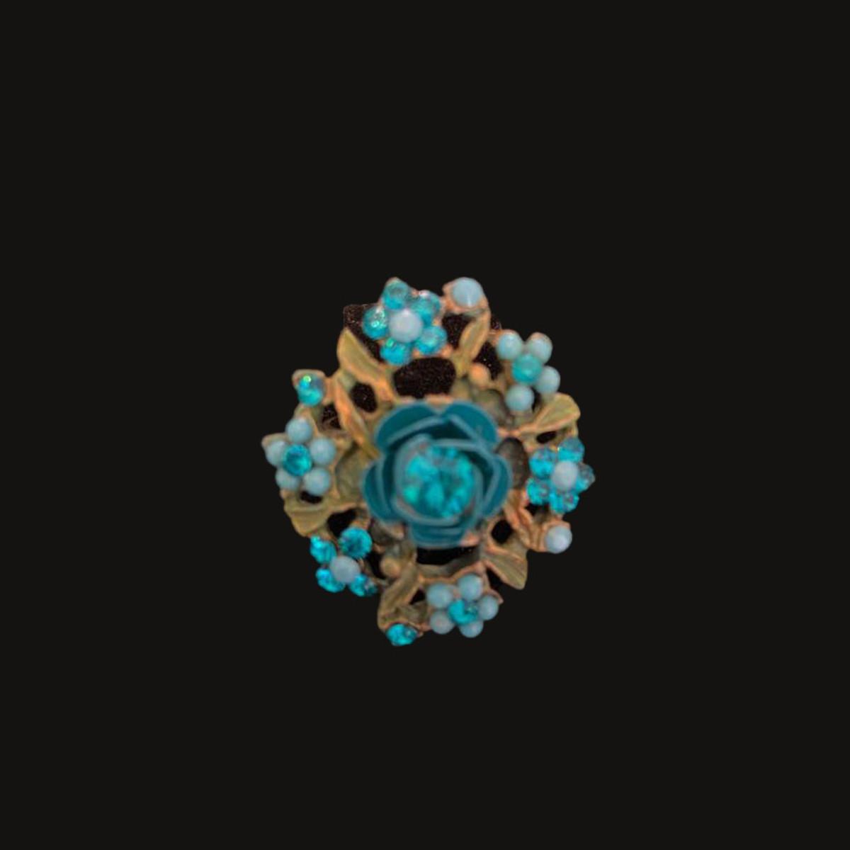 Michal Negrin Victorian Flower Power Blue Ring