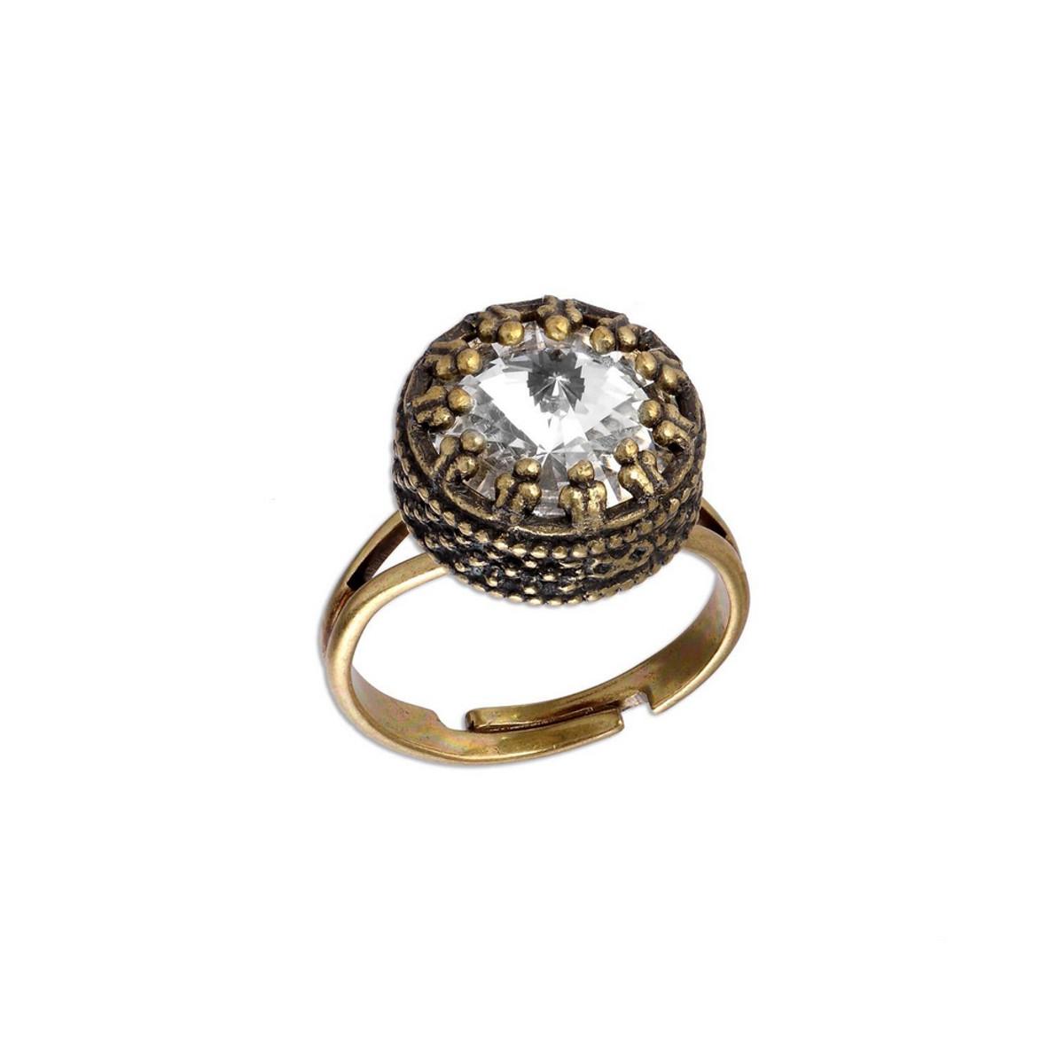 Michal Negrin Clear Crown Swarovski Crystal Adjustable Ring
