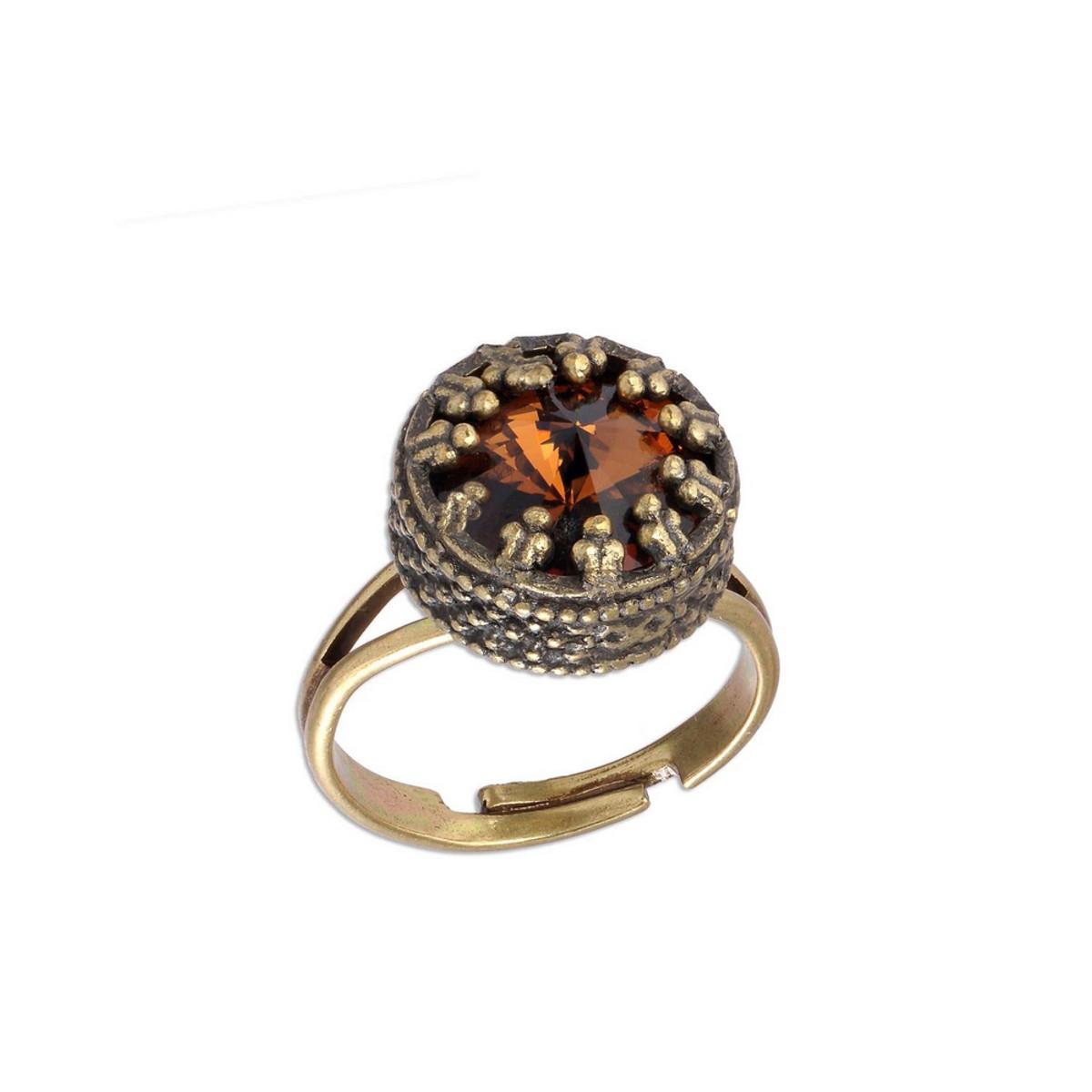 Michal Negrin Champagne Crown Swarovski Crystal Adjustable Ring