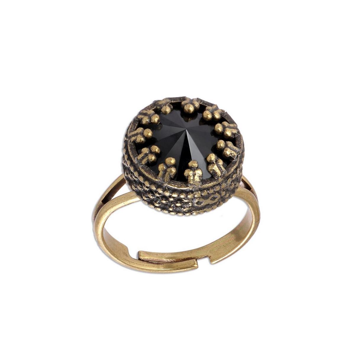 Michal Negrin Black Crown Swarovski Crystal Adjustable Ring