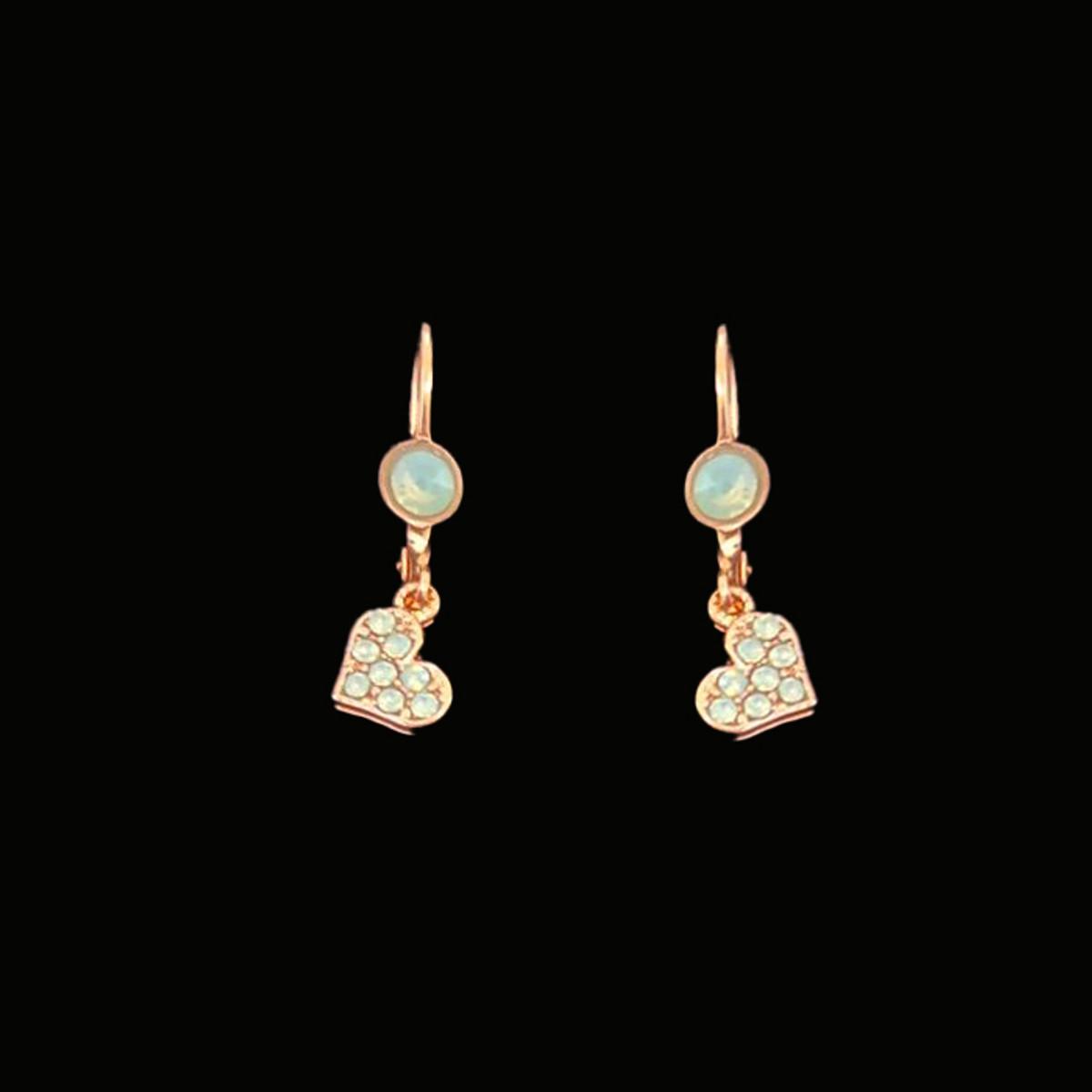 Michal Negrin Crystal Green Gold Heart Earrings