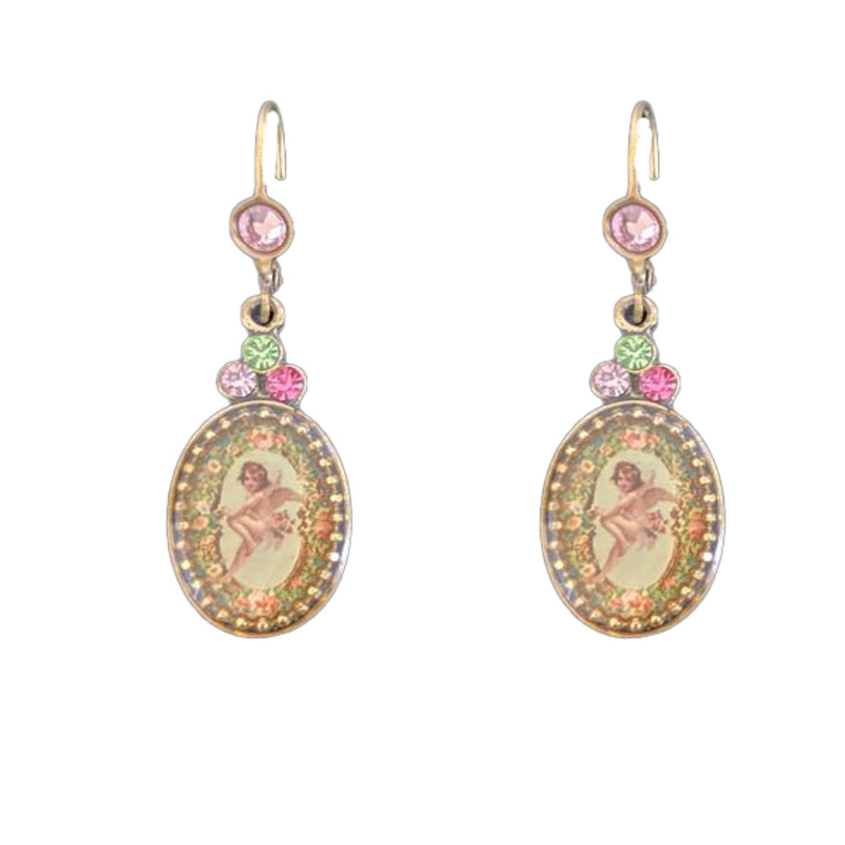 Michal Negrin Crystal Angel French Wire Earrings