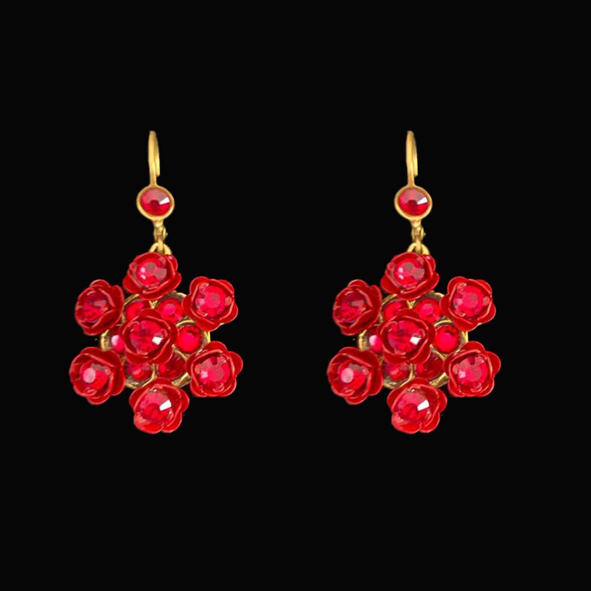 Michal Negrin Fancy Red Flowert Earrings