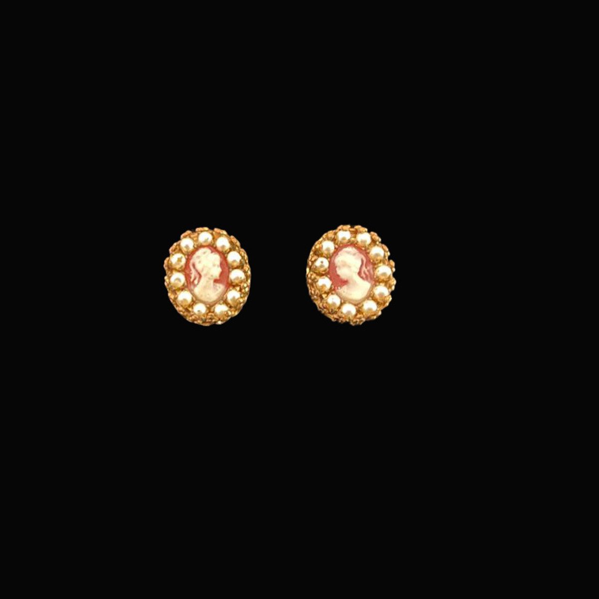 Michal Negrin Cameo Bright White Post Earrings