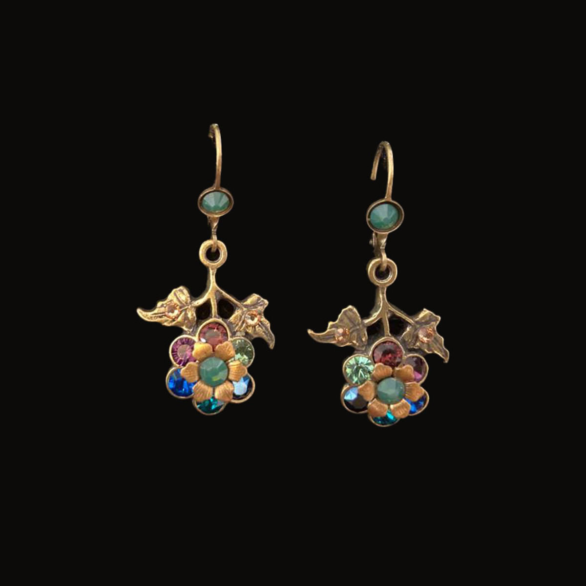 Michal Negrin Blue Shade After Hours Flower Earrings
