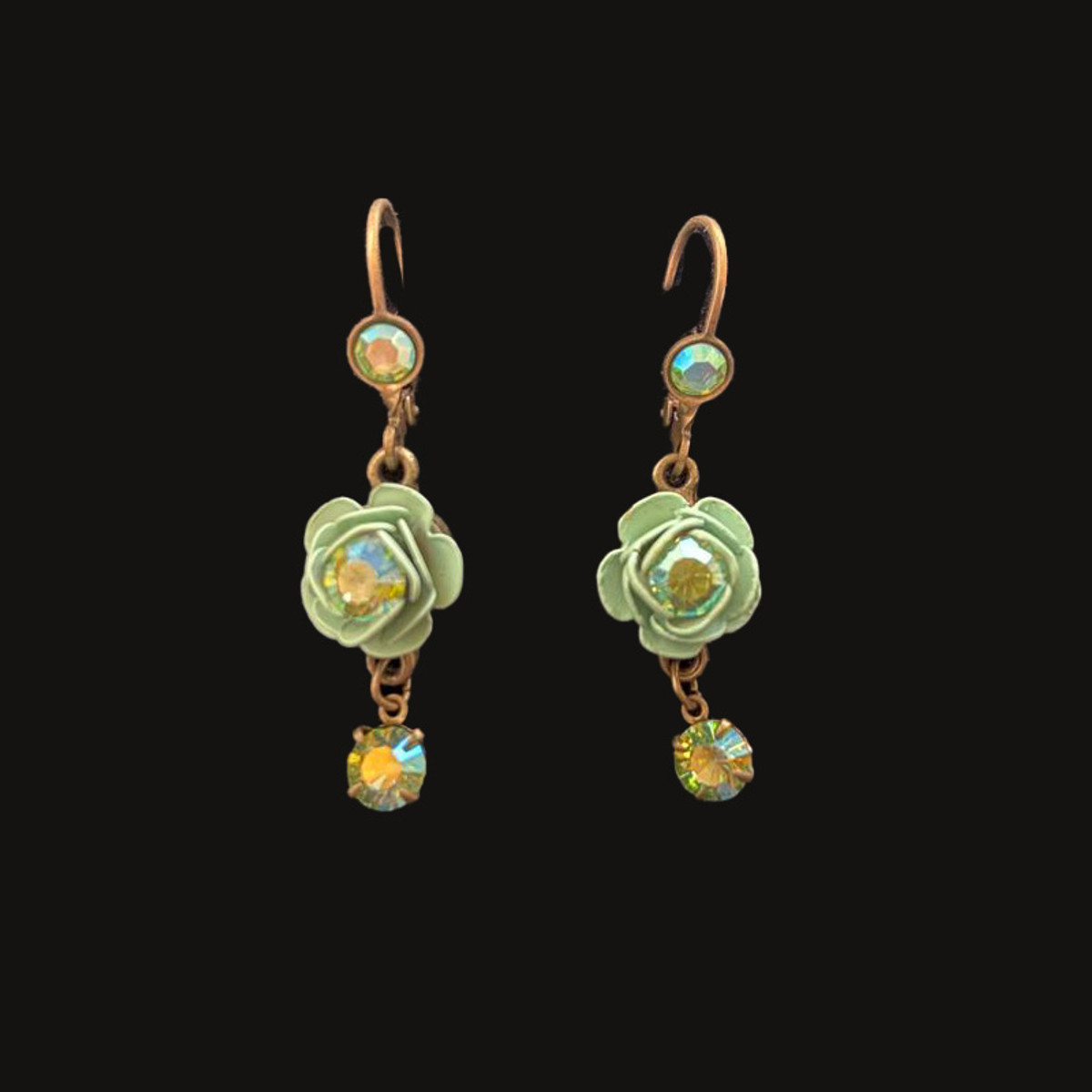 Michal Negrin Green Rose Clear Swarovski Crystals Wire Earrings