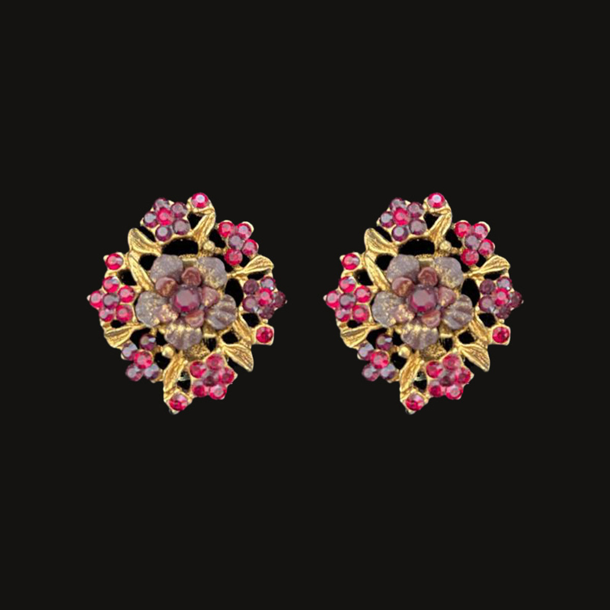 Michal Negrin Crystals Clip On Happy Day Earrings