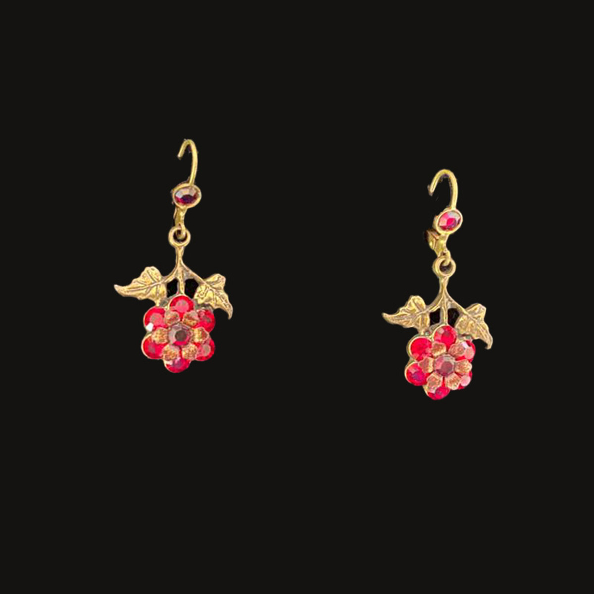 Michal Negrin Special Red Flower French Wire Earrings