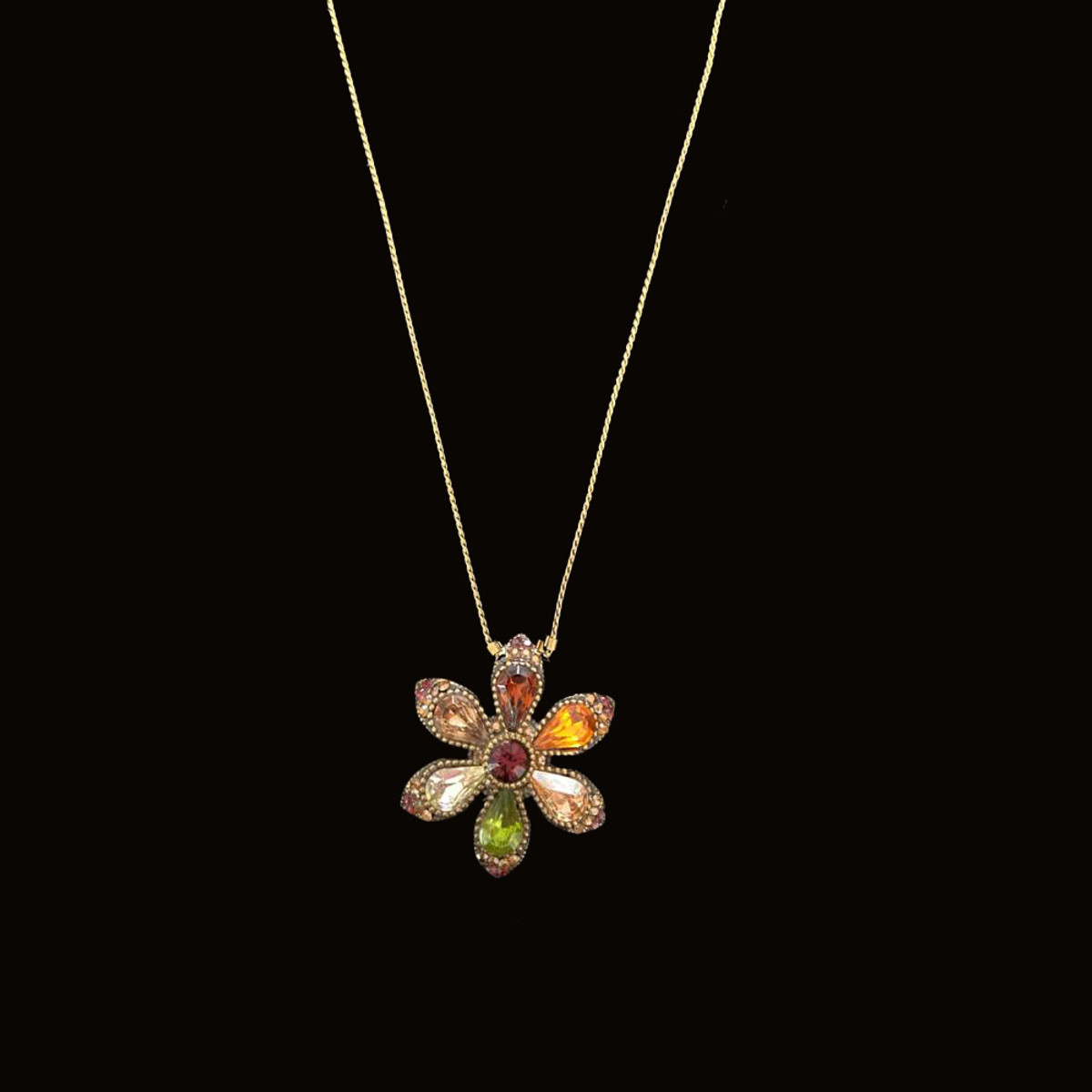 Michal Negrin Happy Flower Multi Color Crystals Necklace