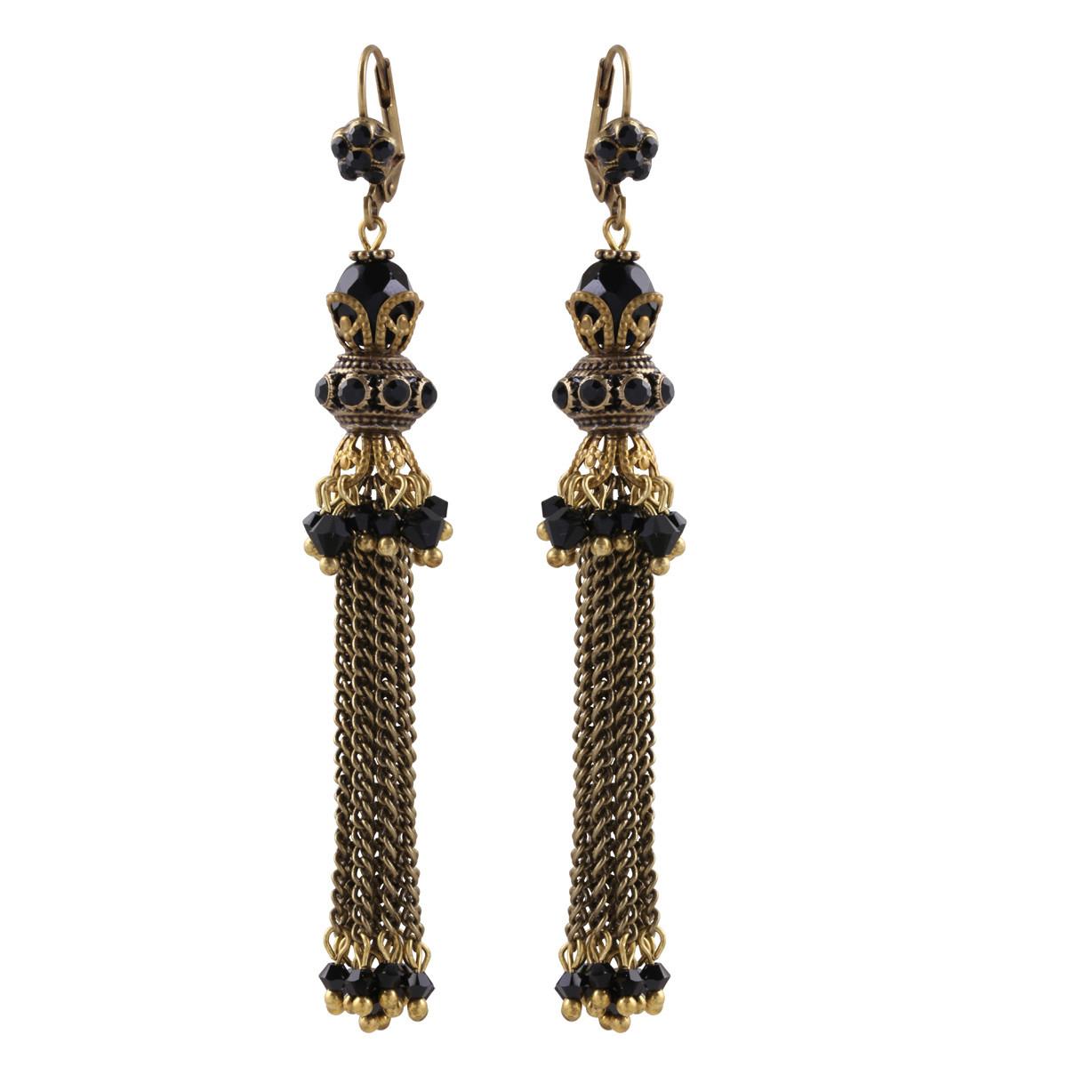 Michal Negrin Black Drapes Dangle Earrings