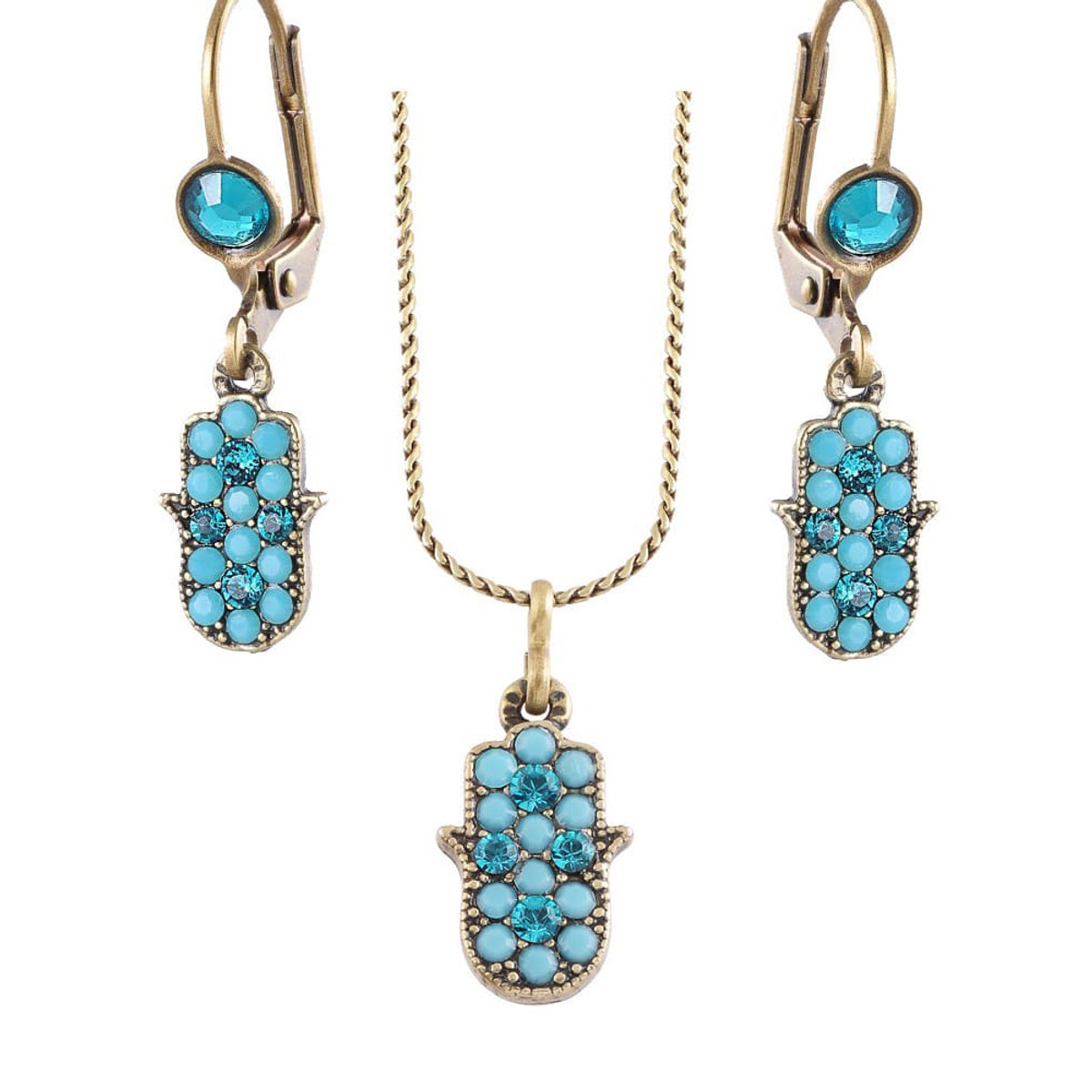 Michal Negrin Hamsa Earrings and Necklace