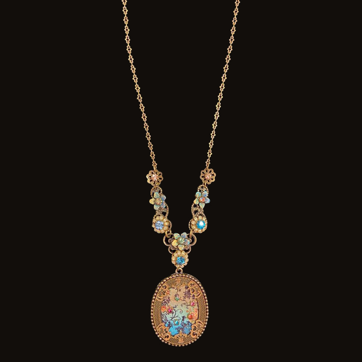 Michal Negrin Printed Flowers Como Necklace