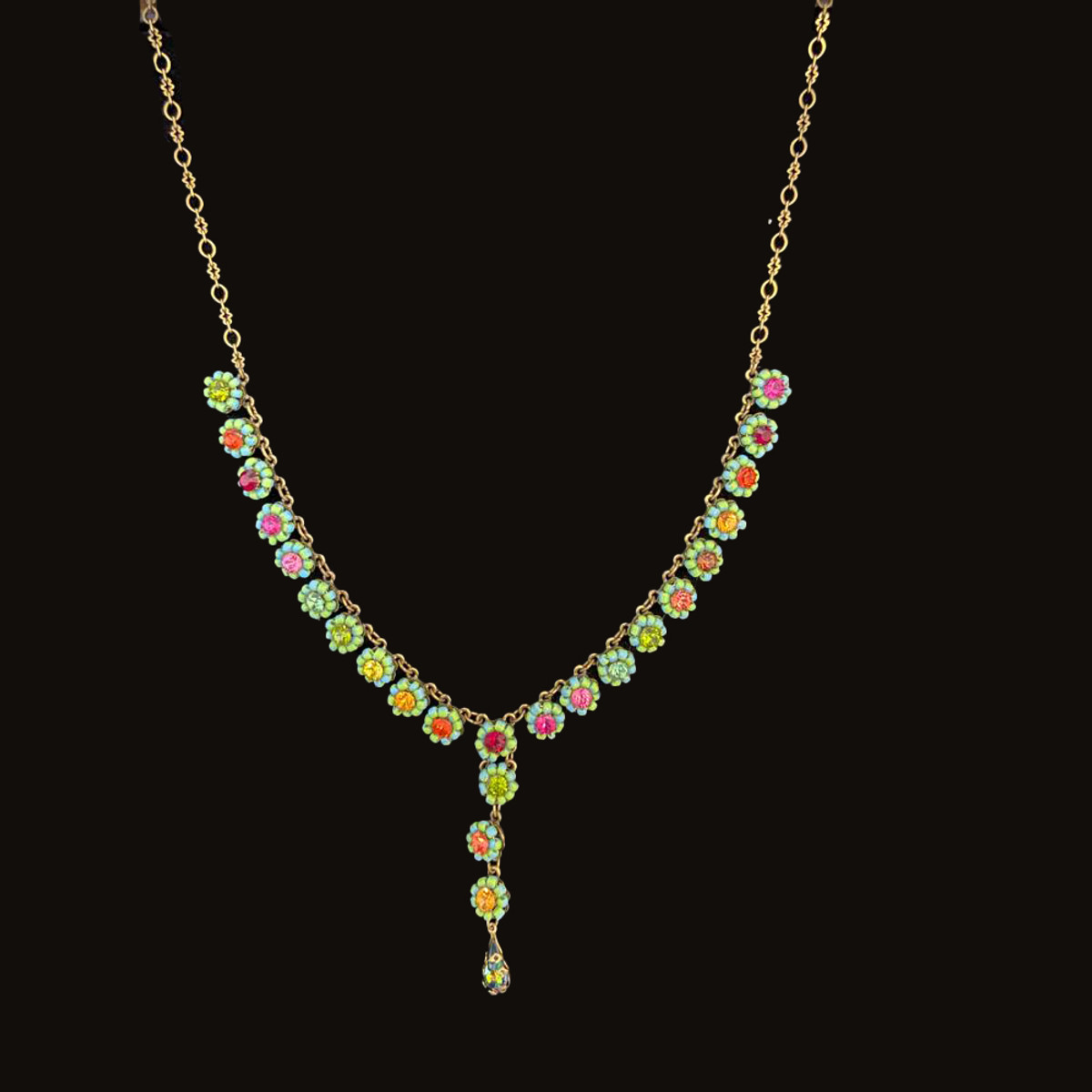 Michal Negrin Classic Small Crystals Flowers Necklace