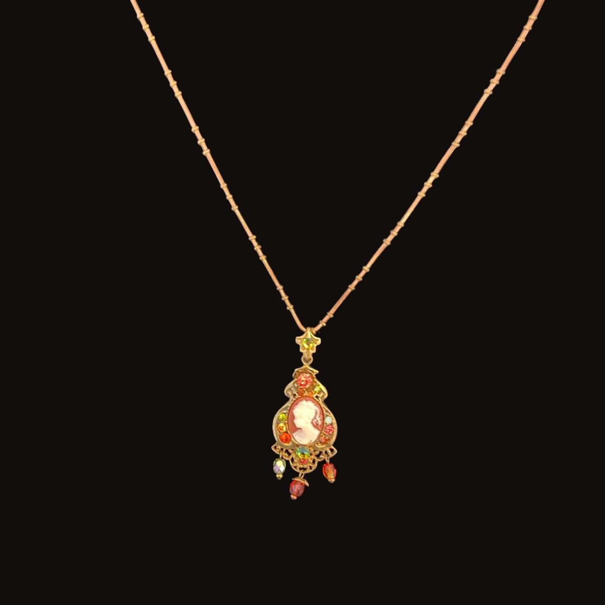 Michal Negrin Victorian Women Precious Portrait Crystals Necklace