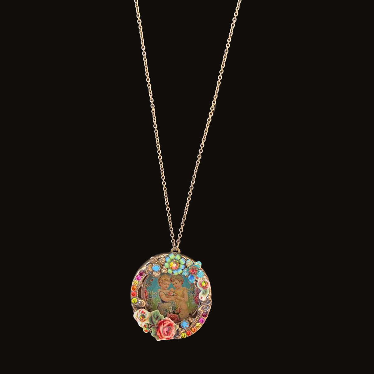 Michal Negrin Picture Frame Locket Flowers Necklace