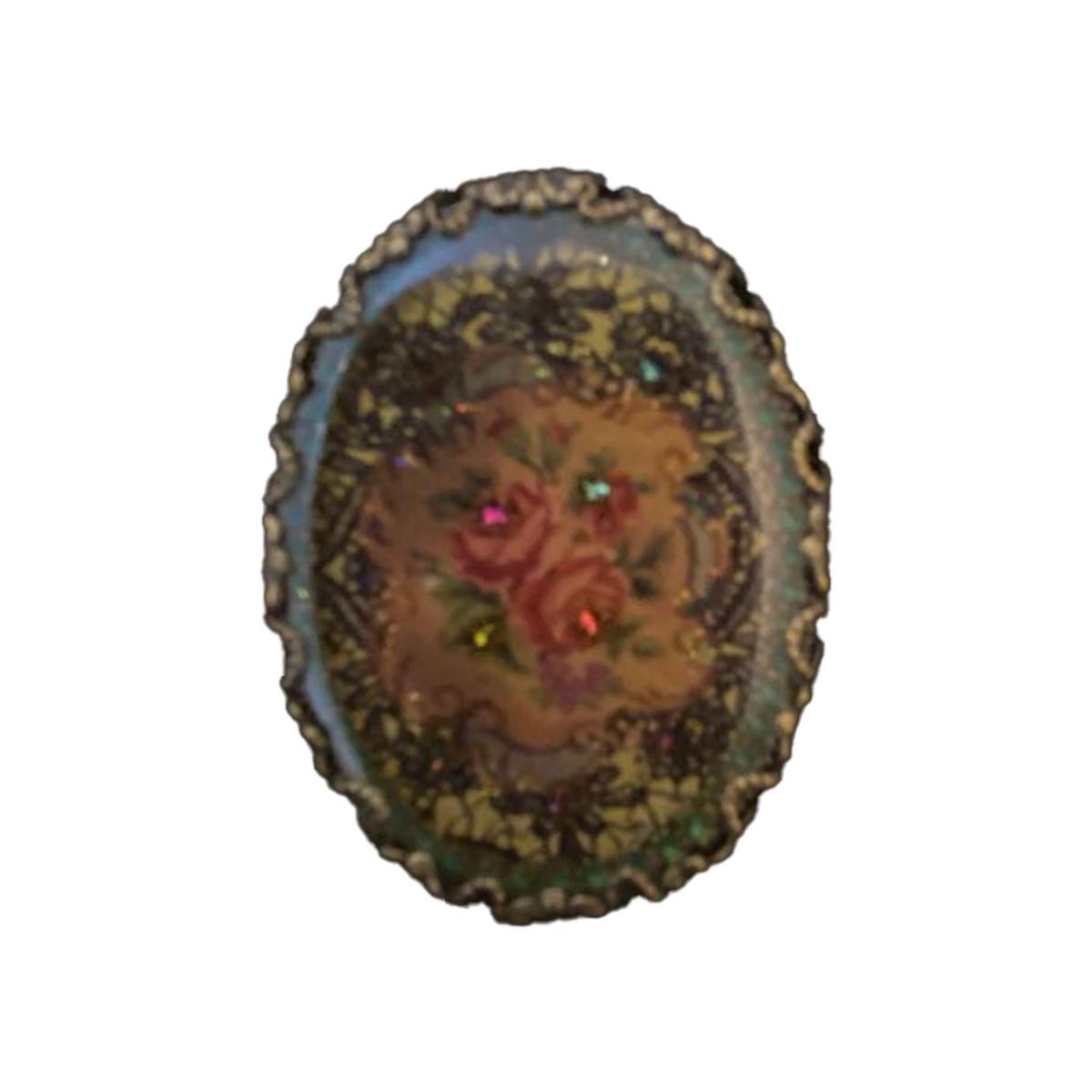 Michal Negrin Swarovski Crystals Oval Pin