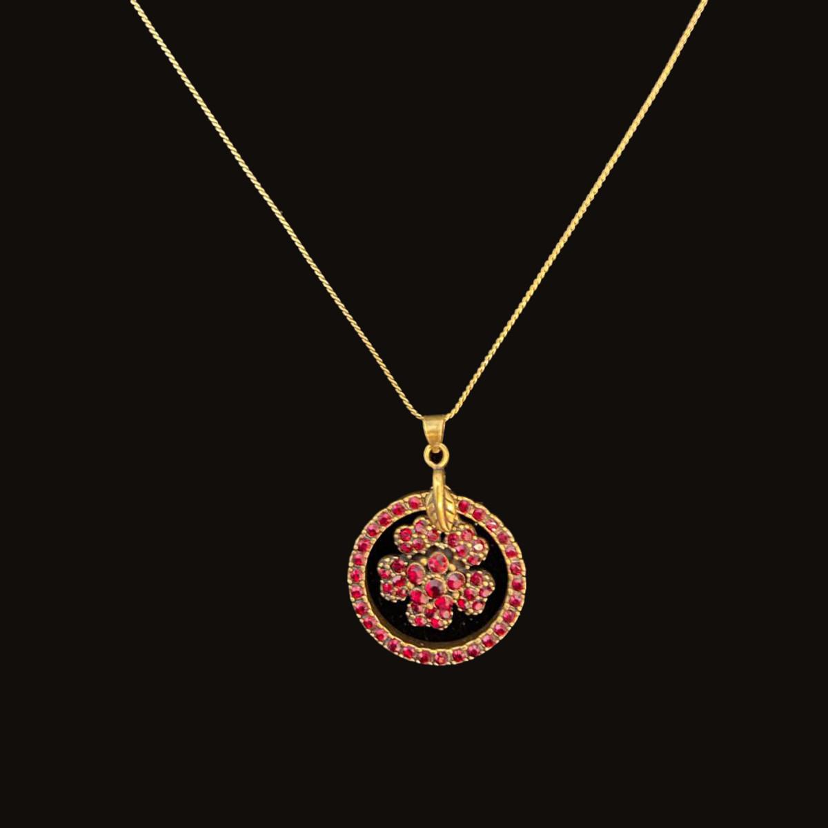 Michal Negrin Flower Dream Catcher Red Wine Necklace