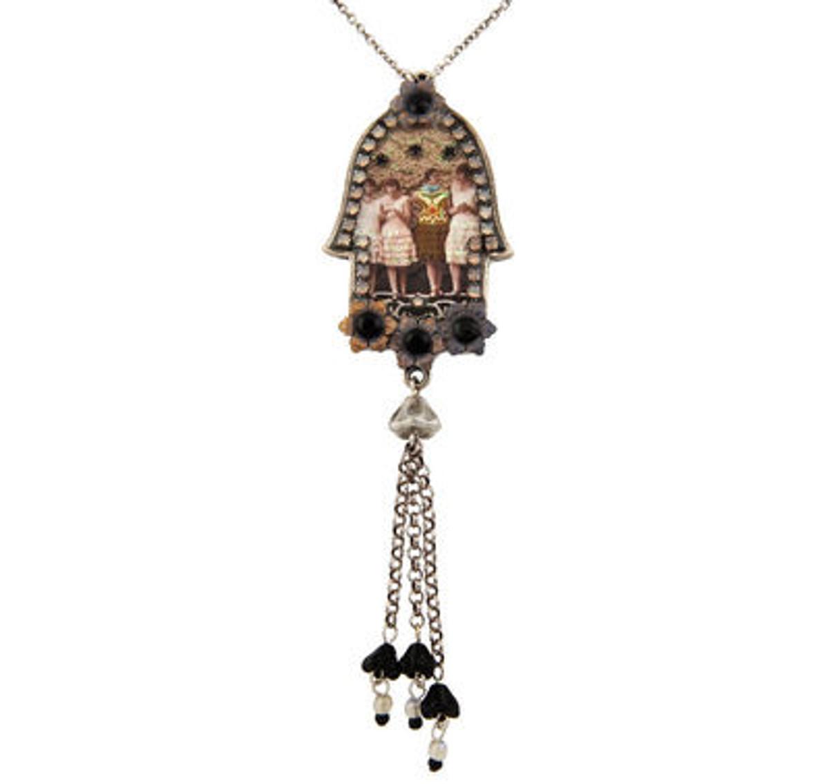 Silver Jewish Necklace Hamsa