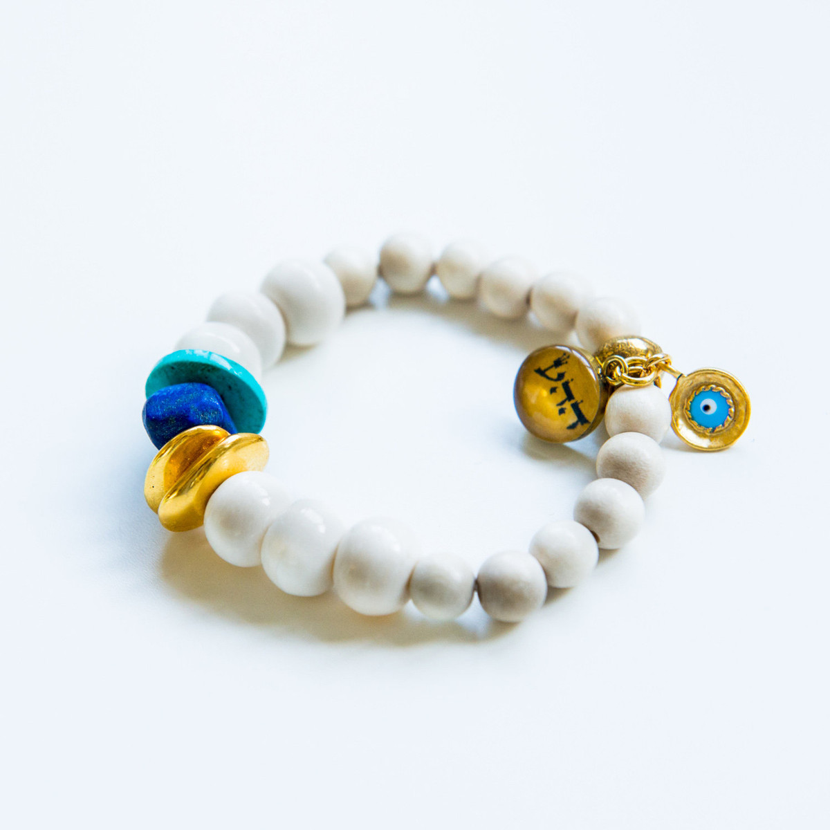 7Stitches Kabbalah Protection with Lapis and Gold Chips Bracelet