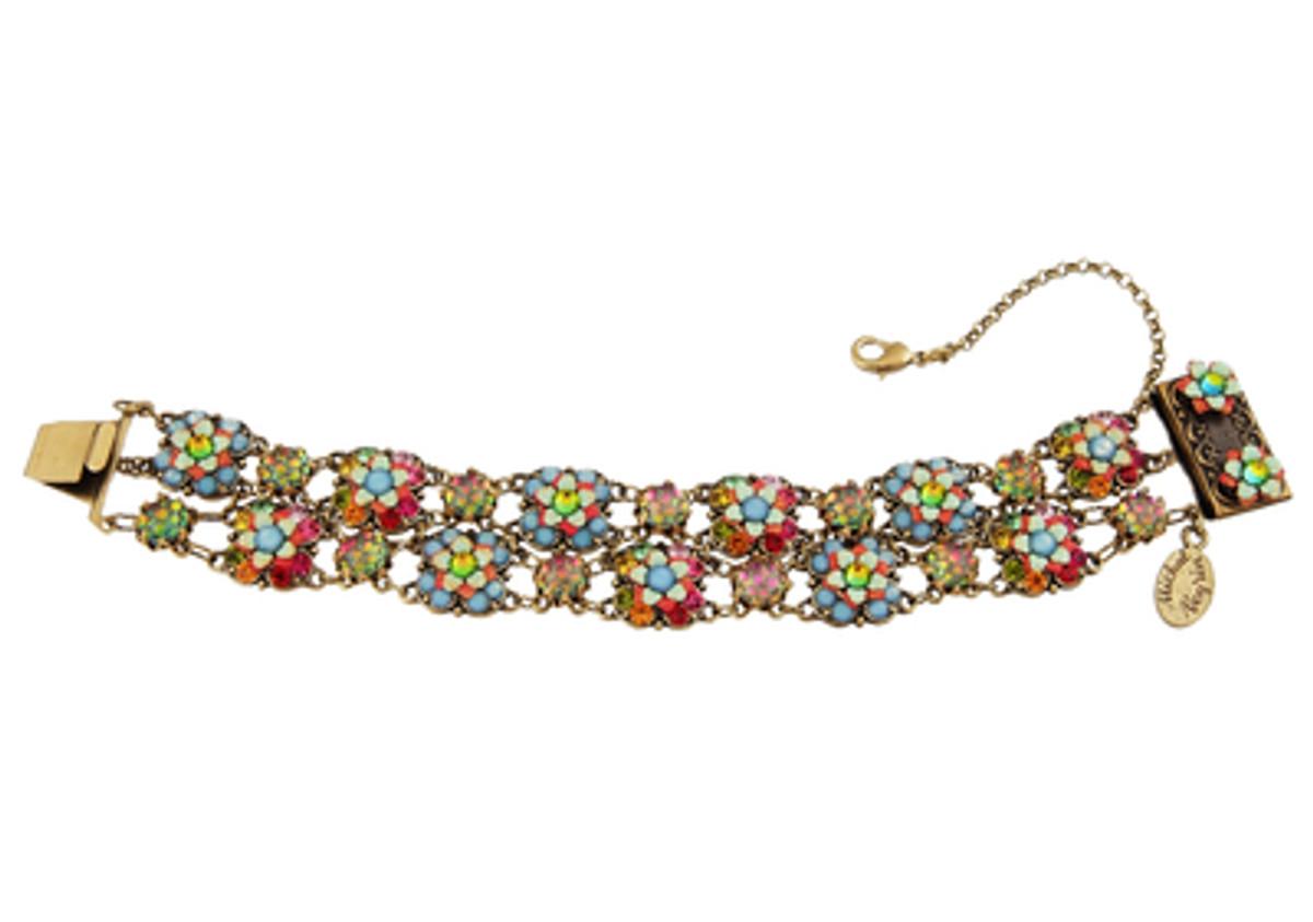 Michal Negrin Jewelry 2 Rows Crystal Flowers Bracelet - One Left