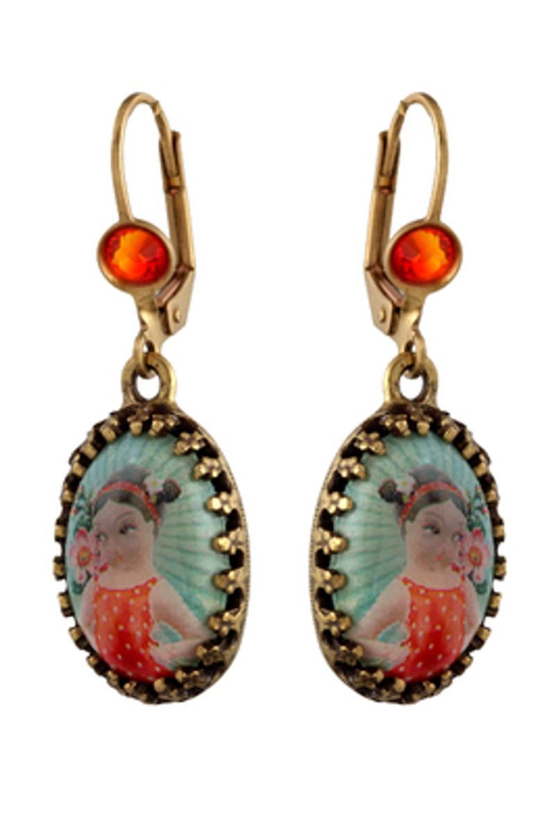 Michal Negrin Jewelry Printed Cameo She Shy Hook Earrings - Multi Color
