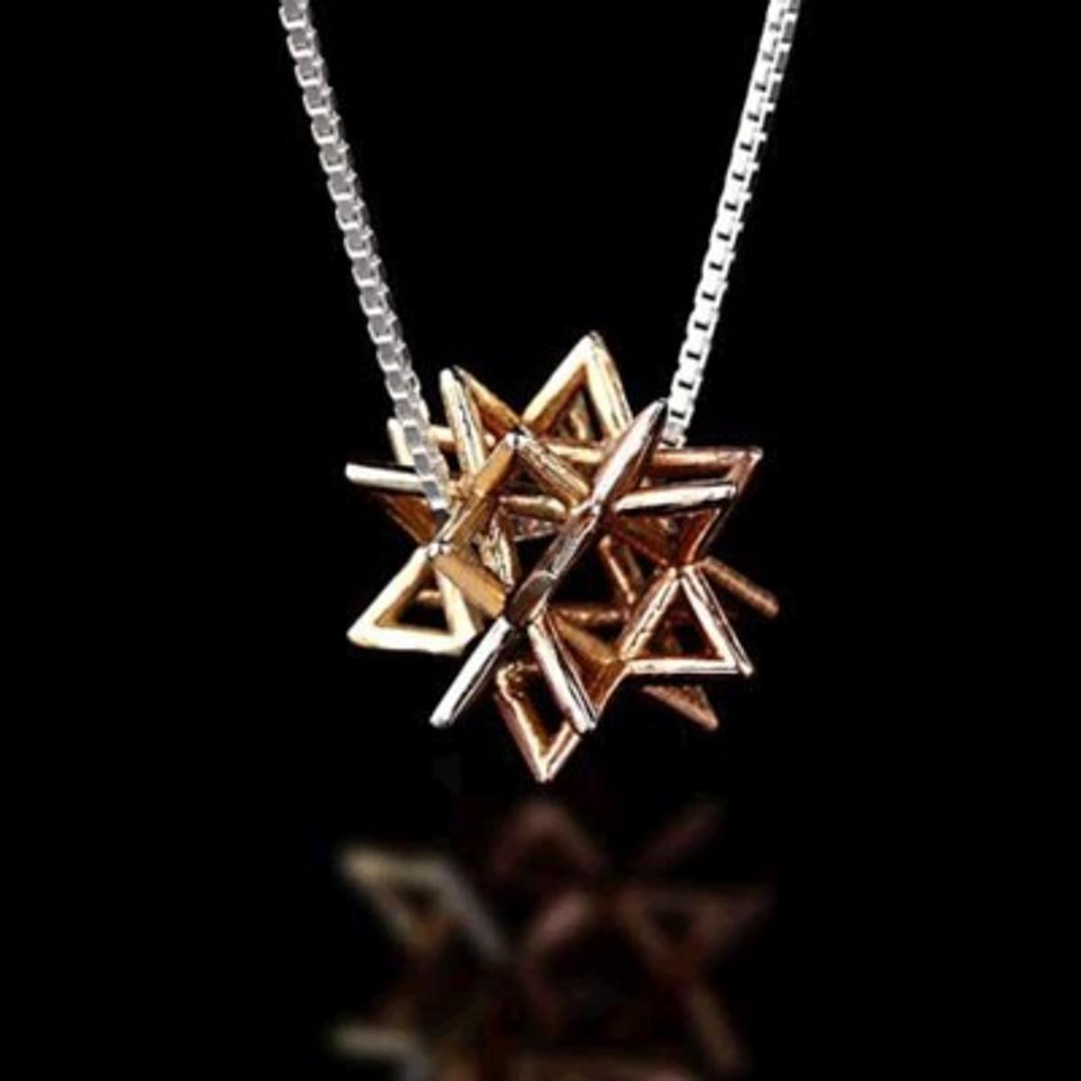 Merkaba Secret Gold Kabbalah Pendant (Small)