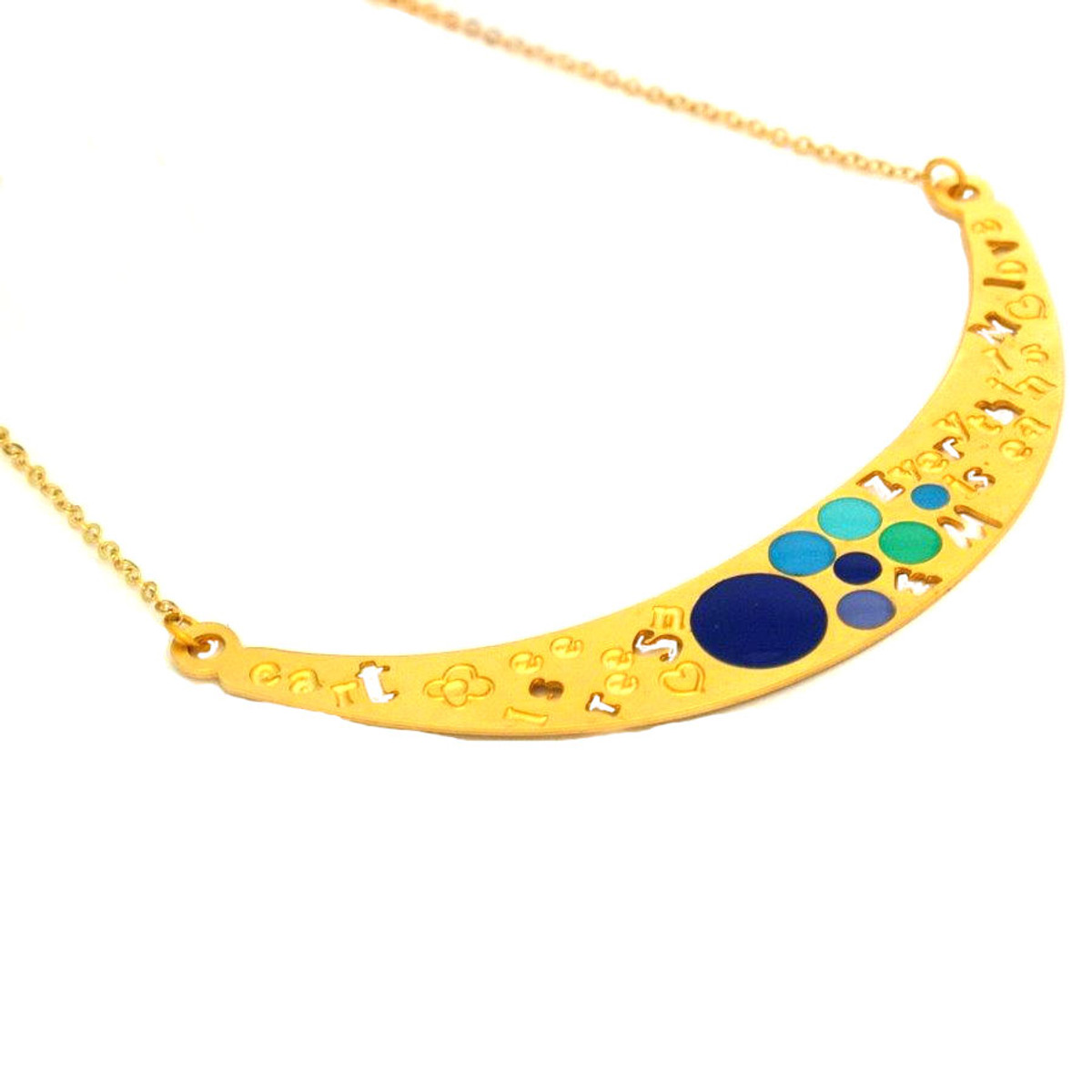 Iris Designs Enamel Blue Circles Necklace