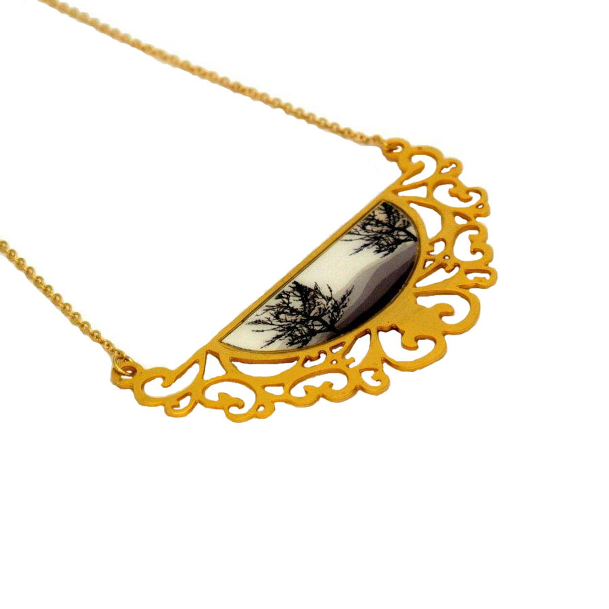 Iris Designs Black Forest Painting Necklace