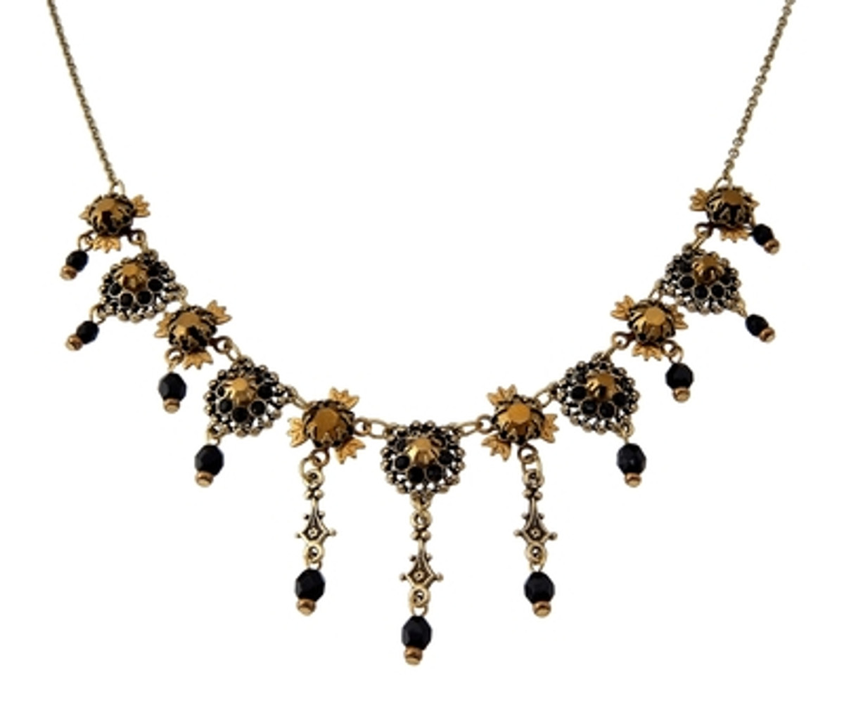 Michal Negrin Classic Dangle Crystal Flowers Necklace