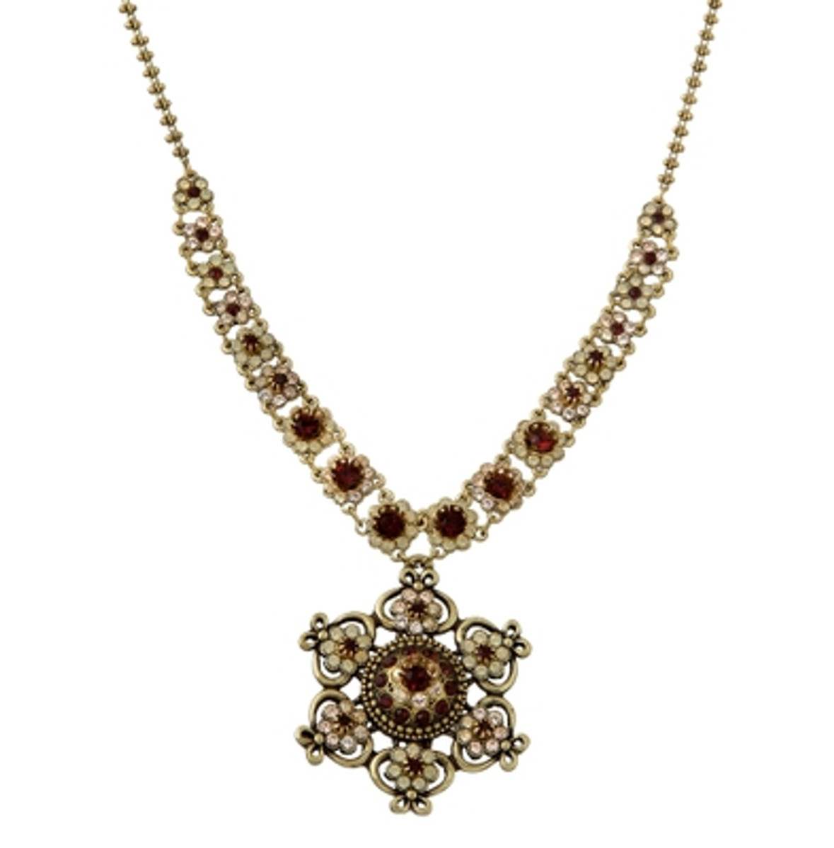 Michal Negrin Classic Star Flowers Crystal Necklace